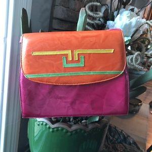 Vintage 80's Margaret g colorful purse leather